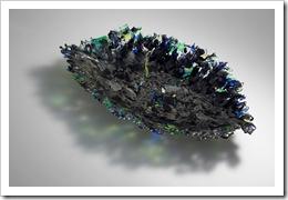 黒と緑の葉形の鉢 フュージング 36×68×8 2007